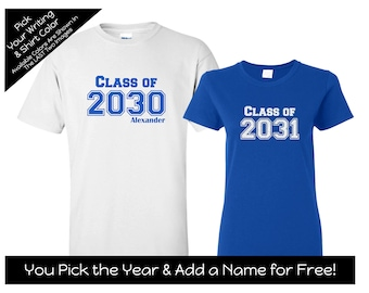 Collegiate Style Class of 2032, 2031, 2030 etc. -You choose the YEAR and COLORS - First Day of School Shirt - Kindergarten Shirt - Preschool