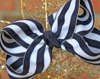 Large Navy and White stripe Hair Bow
