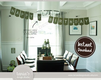 Army - Toy Soldier - Happy Birthday Banner - Instant Download - by Tania's Design Studio