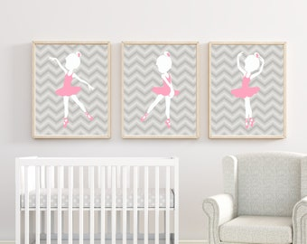 Baby Girl Nursery Art Suits Pink and Grey Nursery, Ballerina Nursery Art, Baby Girl Nursery Wall Art Print and Bedroom Decor H258