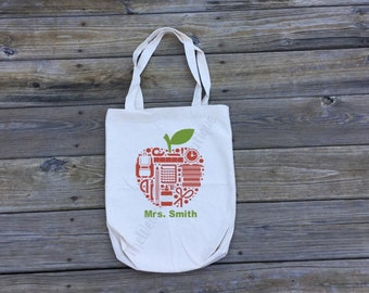 Personalized Teacher Tote bag | Personalized Teacher Gift | Reusable Grocery Bag | School Bag | School Supply Bag
