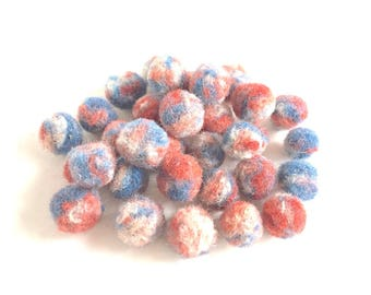 """32 beads/buttons """"Knossos"""", handmade, artisan wool, eco & vegan friendly, plant dyes, blue, white, red, peach, tricolor, OOAK, one of a kind"""