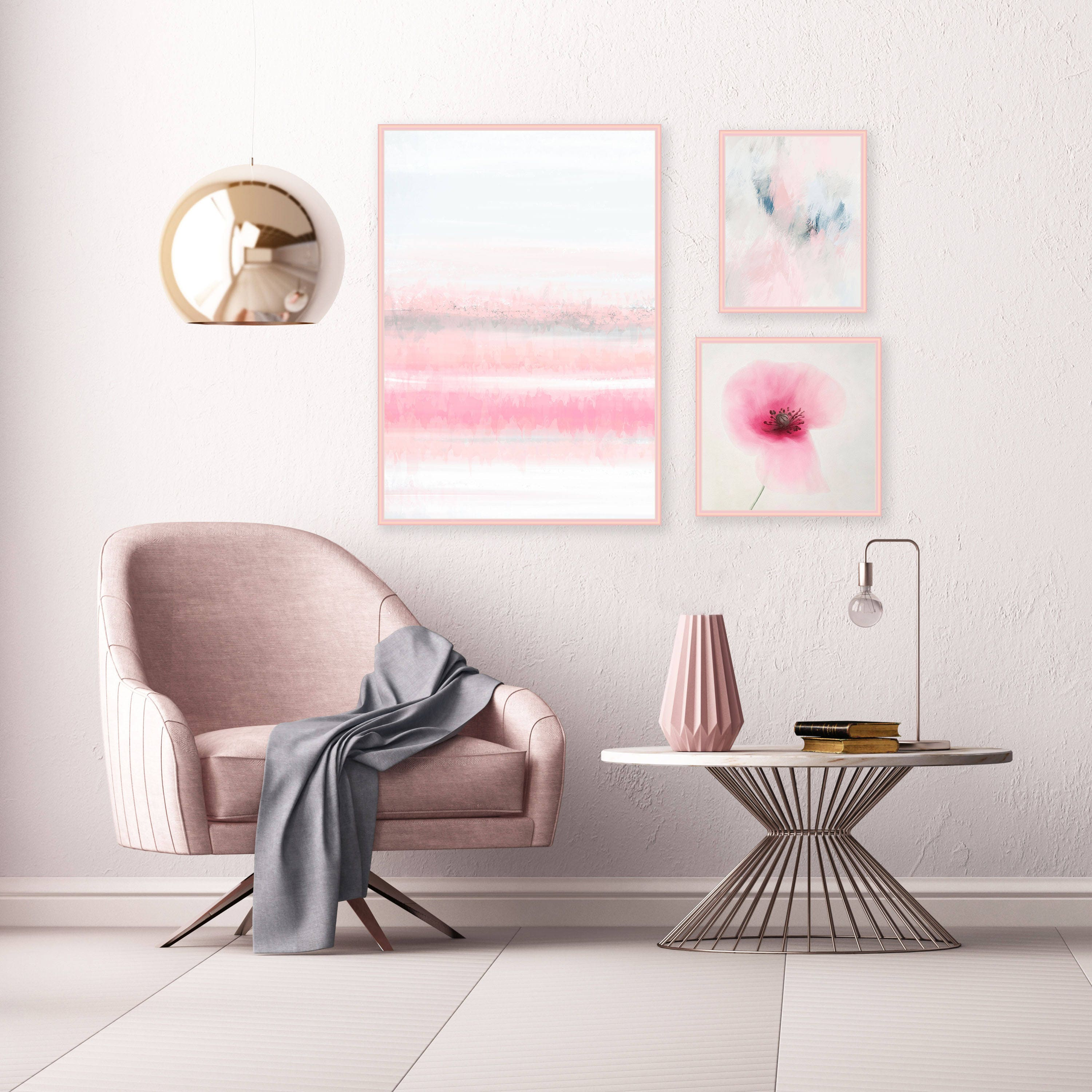 Pastel and Floral Gallery Wall Art Prints, Framed Prints Set, Art ...
