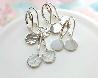 Hammered Earrings Sterling Silver Disc Dangle Drop Leverback Lever back Dainty Everyday Coin Round Circle Jewelry Gift for Her Remy and Me