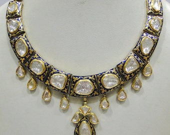 Vintage antique handmade solid 20K Gold jewelry Diamond enamel work Necklace