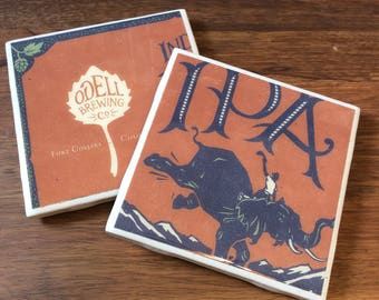 Tile Coasters | Set of 2 | Odell Brewing Co IPA | Craft Beer