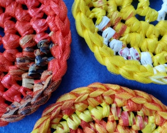 Three Yellow, Orange, and Red Plarn Dish Scrubbies, recycled plastic bags, eco-friendly dish scrubby pot scrubber