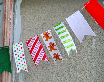 Candy Cane Christmas Garland - 3 ft Ribbon and Felt with Polka Dots, Stripes, Gingerbread