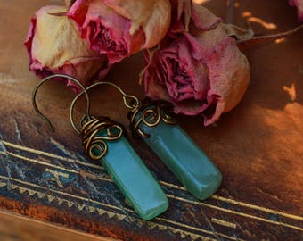 Chrysoprase Stone   Natural Green   Rustic Earrings   Bronze Dangle Jewelry   Boho Wire Wrapped
