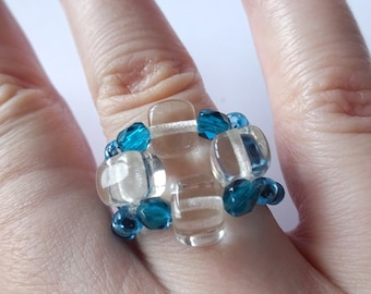 Czech glass beads clear and turquoise ring