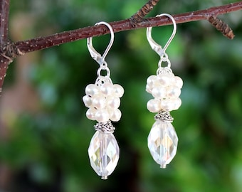 White Pearl Cluster Earrings.Swarovski Crystal Dangle.Sterling Silver plated.Statement.Chandelier.Wedding.Bridal.Luxury.Holiday.Handmade.