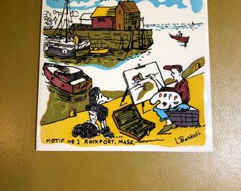 Mid Century Lou Bankoff Tile Trivet Artist Rockport Massachusetts