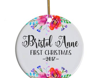 Personalized Baby Ornament, First Christmas Ornament, Baby's First Christmas Ornament, 1st Christmas Baby, Floral Ornament, Custom Ornament