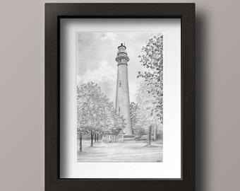 Currituck Lighthouse - Currituck Print - Currituck NC - Outer Banks Lighthouse - OBX Decor - Outer Banks Decor - Lighthouse Print - OBX Art