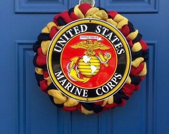 USMC Wreath , Marine Corps Wreath , USMC Home Decoration , Marine Corps Decor , USMC Veteran Retirement Promotion Gift , Wreath Obsessed