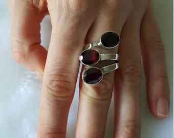 Natural GARNET Sterling Silver Ring Size 7 NEW design