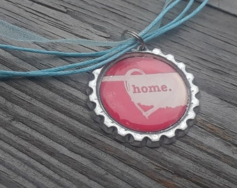 Oklahoma home bottle cap necklace