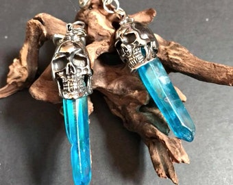 Skull ear weights ,blue quartz crystal ear weights,natural stone ear weights