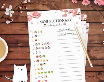 EMOJI PICTIONARY - Bridal Shower Game with Cherry Blossom Theme | Flowers | Pink | Garden | Japanese [Instant Digital Download]