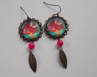 earrings.. .arbre of spring and jade beads