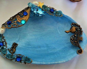 Seashell jewelry dish with mermaid and seahorse_mermaid decor shell_ring dish