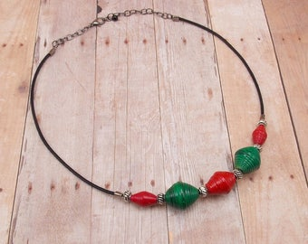 Rwandan Paper Bead Necklace - Red and Green with Silver - Black Cotton Cord