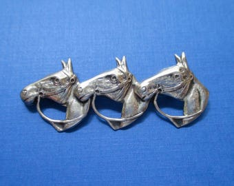 Sterling Silver Horse Trio Pin