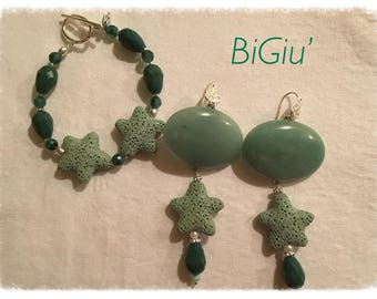 earrings and jade bracelet and volcanic lava