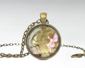 Fairy Tale Jewelry, Fairy Frog Whimsical Pendant, Vintage Fairy Tale Necklace [A68]