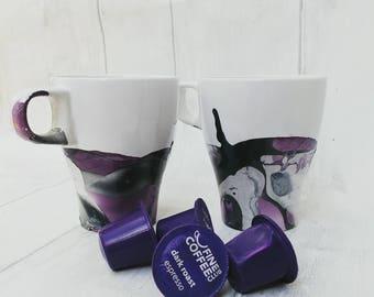Marble coffee mug, housewarming gift, marble look coffee cup, marbled tea mug, coffee lover, gift for her, customisable, ooak, marble effect