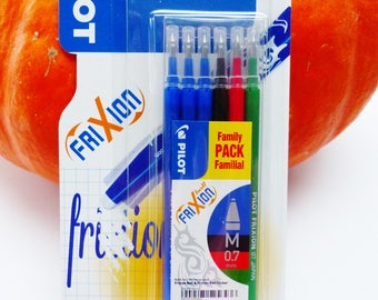 set of 6 refill for FRIXION Ball pen and ball clicker frixion point M 0.7 mm 3 blue refill 1 Black 1 erasable 1 green red