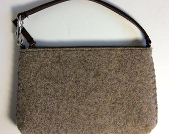 "5"" x 8"" Brown Heather Wool Faux Leather Strap Zippered Womens Handbag"