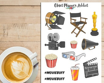 Movies At The Cinema Planner Stickers | Theatre Decorations (S-101)