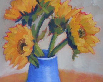 Still Life Floral Oil Painting/Sunflowers in Blue Vase/10.5 x 12 Inches on Wood Panel