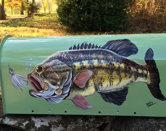 Personalized Mailbox - Hand Painted Smallmouth Bass