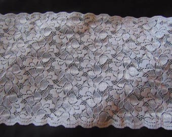 3 metres of 7.25 inch wide white stretch vintage Nottingham lace,scallop at both sides
