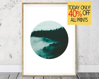 Green Print, Circle Print, Forest Print, Cloud Print Instant Download, Forest Photography, Cloud Photography, Digital Download, Nature Art