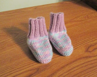 baby booties lavender and turquoise, soft and comfy - 6 - 12 months