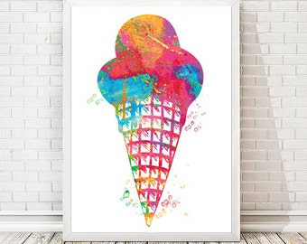 Ice cream Watercolor Print Dessert Poster  Kitchen art  Sweet Girl room decor Food wall art Birthday party decor Birthday gift Sweet 16