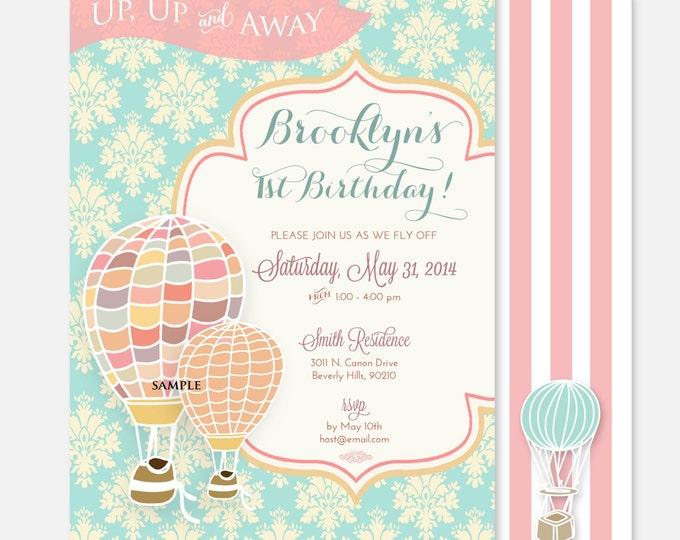Printable invitations - hot air balloon invitation - birthday Invitation - calligraphy - balloon invitation - freshmint paperie