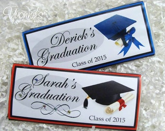 Graduation Candy Bar Wrappers - Chocolate Bar Favors - Birthday Party Favor - High School, College Graduation