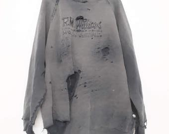R&M Williams SweatShirt Trashed Holes Vintage Distressed Clothing Destroyed Long Sleeved Long Sleeve Jersey Johnny Cool Ripped Slashed Shirt 2vUrx