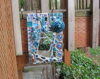 Turquoise Mirrored Wind Chime Pique Assiette Metal & Mosaics Broken Plate Mosaic Art
