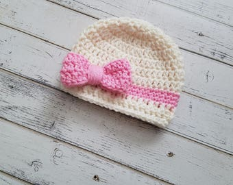 Bow Hat, Baby Girl Hat, Bow Hats for Girls, Crochet Bow Hat, Baby Girl Beanie, Beanie with Bow, Hat with Bow, Hats for Girls, MADE 2 ORDER