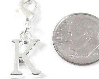 """Clip On Initial Alphabet Charm Dangle with Lobster Clasp-SILVER LETTER """"K"""""""