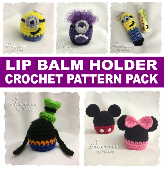 Crochet Pattern Bundle To Make Character Lip Balm Holders Minion