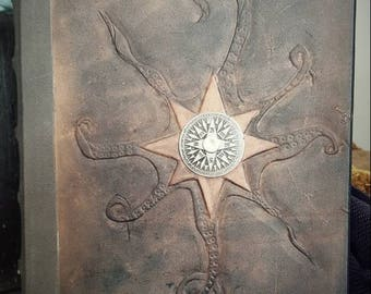 Octopus nautical compass captains log, hand bound leather journal, steampunk notebook