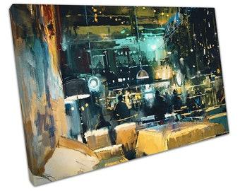 Illustration Art colourful interior of Bar & Restaurant Ready to Hang X1110