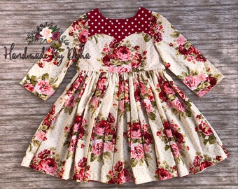 Ready to ship size 5, valentines day dress, valentines outfit, rose print dress, floral print dress, sweetheart dress