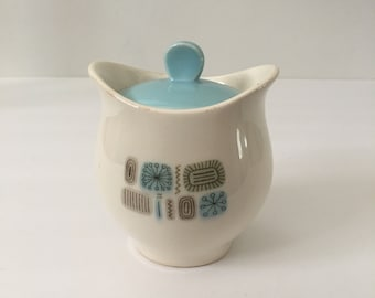 Canonsburg Temporama Sugar Bowl with Lid MCM Blue White Mid Century Atomic Design 1961